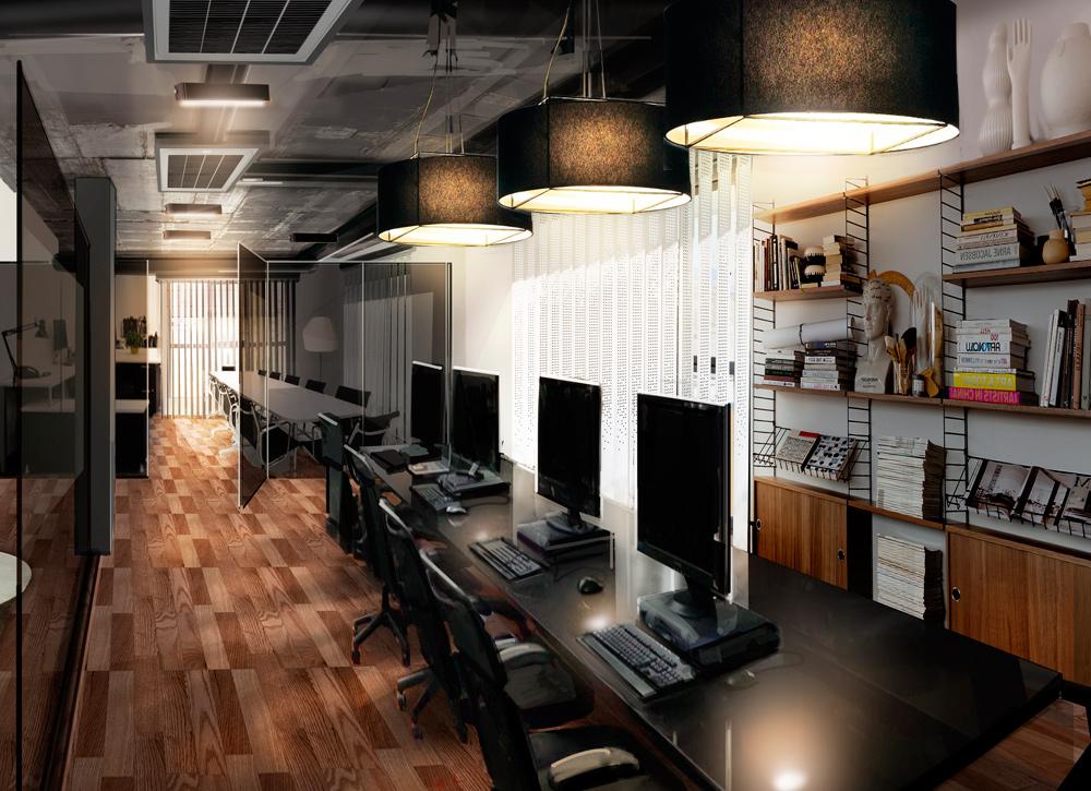 Interiorismo y creatividad entregada en una imagen para vender oficinas en Almería, diseño y creación por Garaje Gráfico