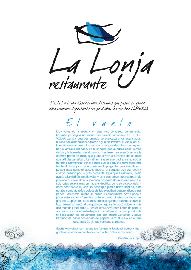 diseño grafico carta de restaurante almeria