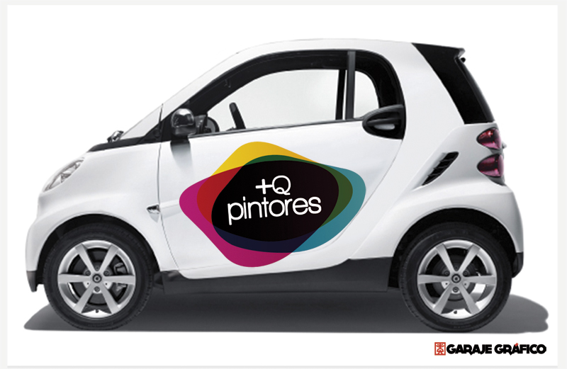 +Q Pintores. Rotulación de vehículo con logotipo de empresa.