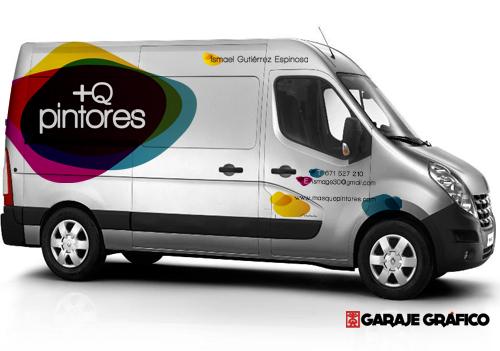 Diseño y rotulación de furgoneta con logotipo e información de +Q Pintores.