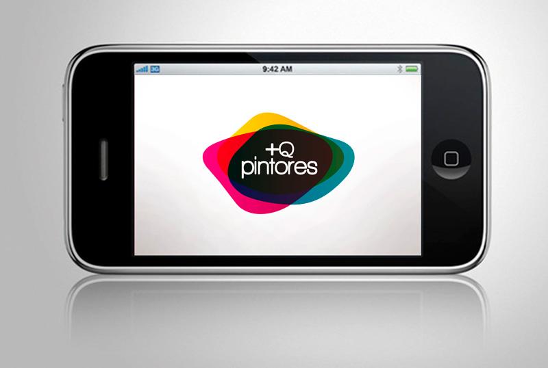 +Q Pintores. Logotipo mostrado en móvil.