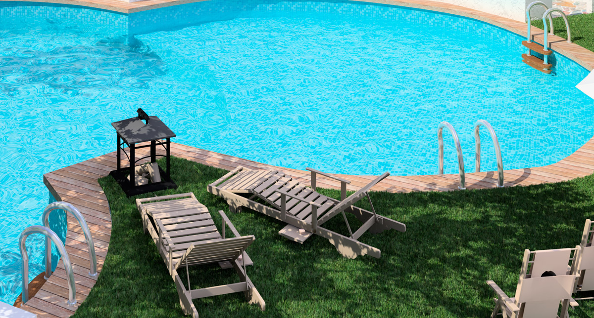 exteriores 3d render piscina