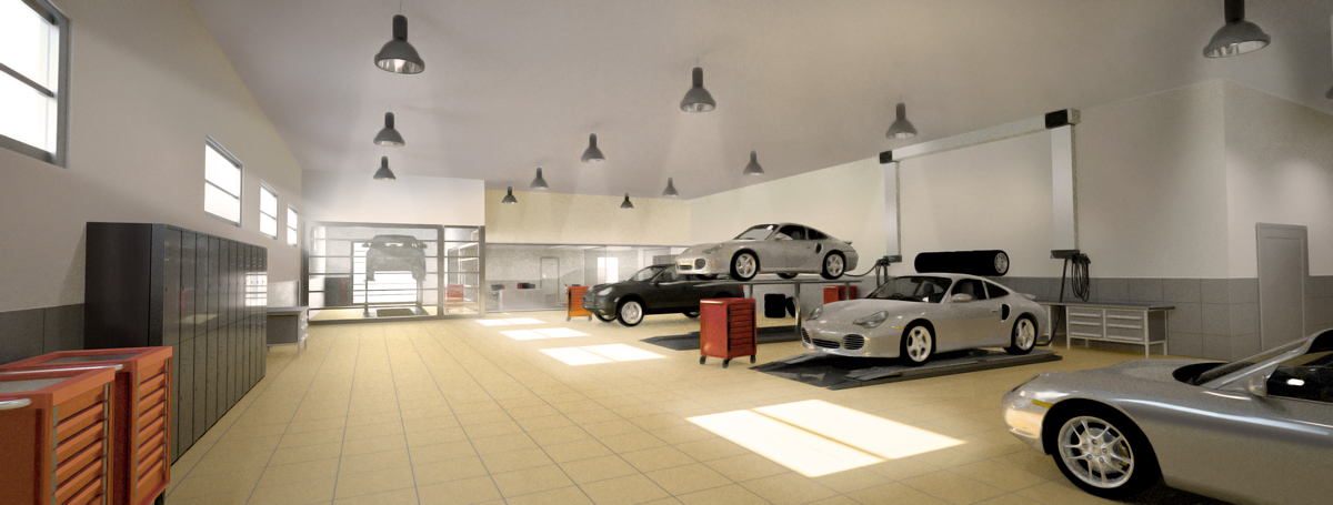 renders 3d proyecto de arquitectura Garaje Grafico