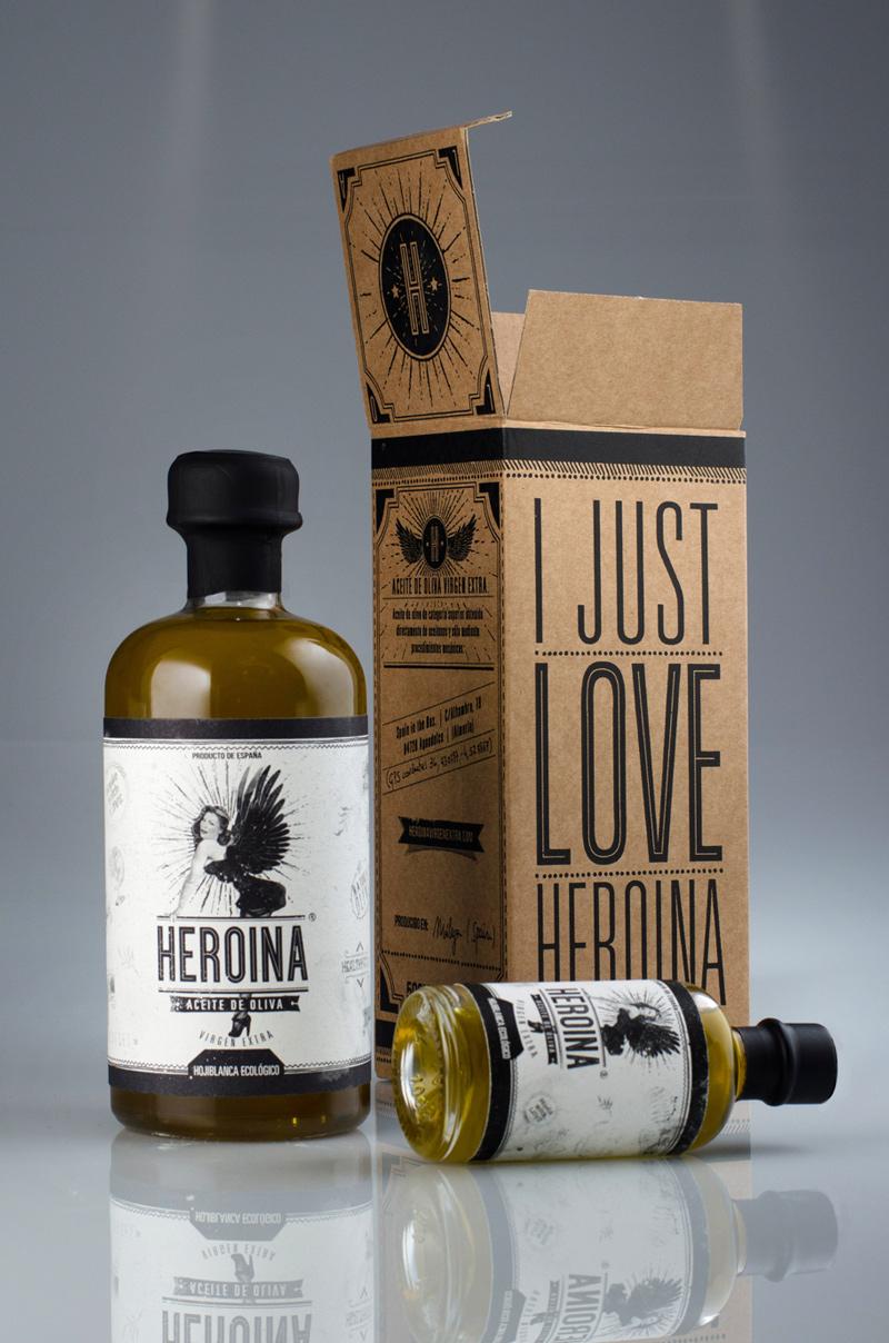 heroina aceite de oliva virgen extra packaging y identidad corporativa garaje grafico
