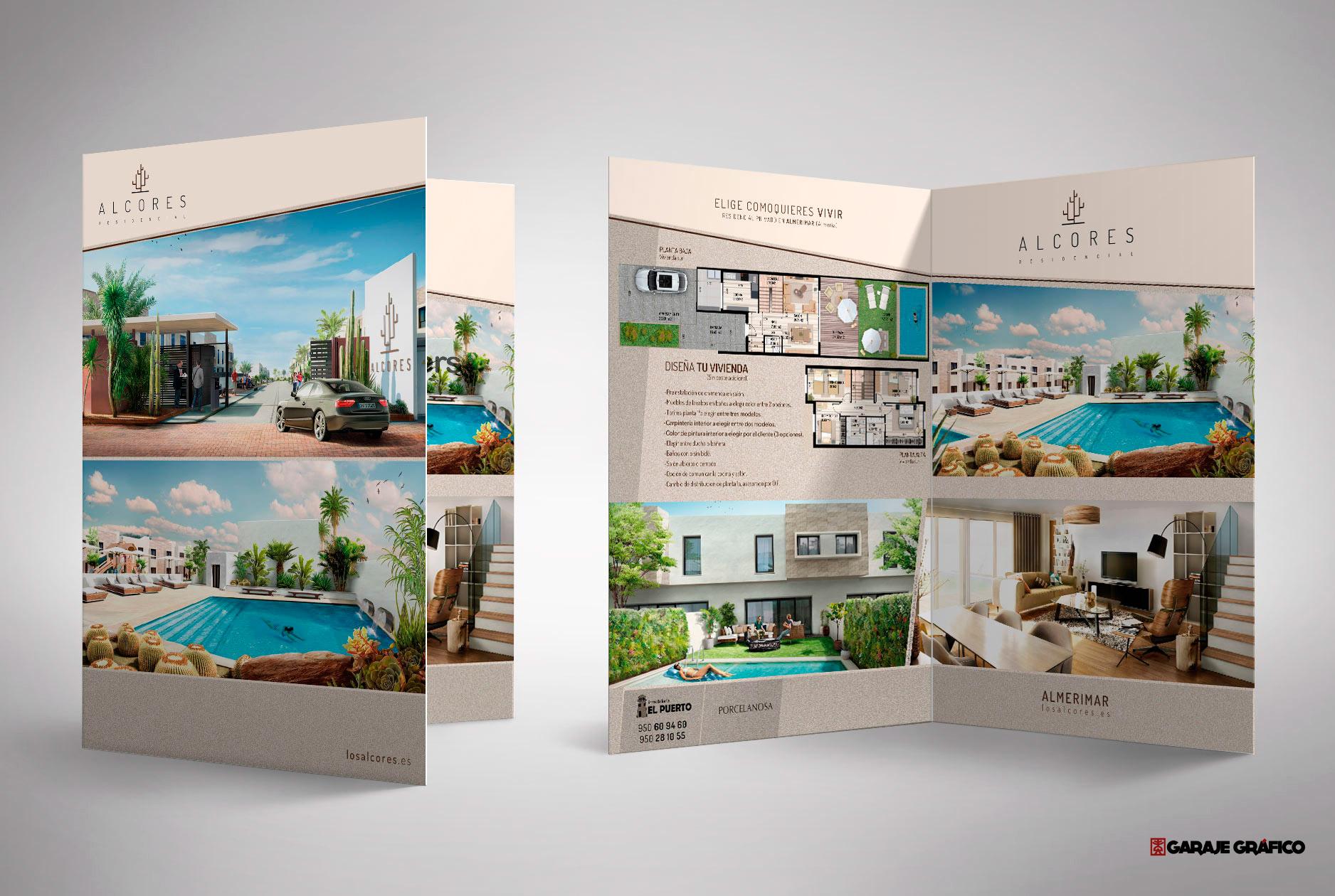 diseño de carpeta, diptico, papeleria corporativa, manual de identidad corporativa, diseño grafico Almería, diseño para venta inmobiliaria