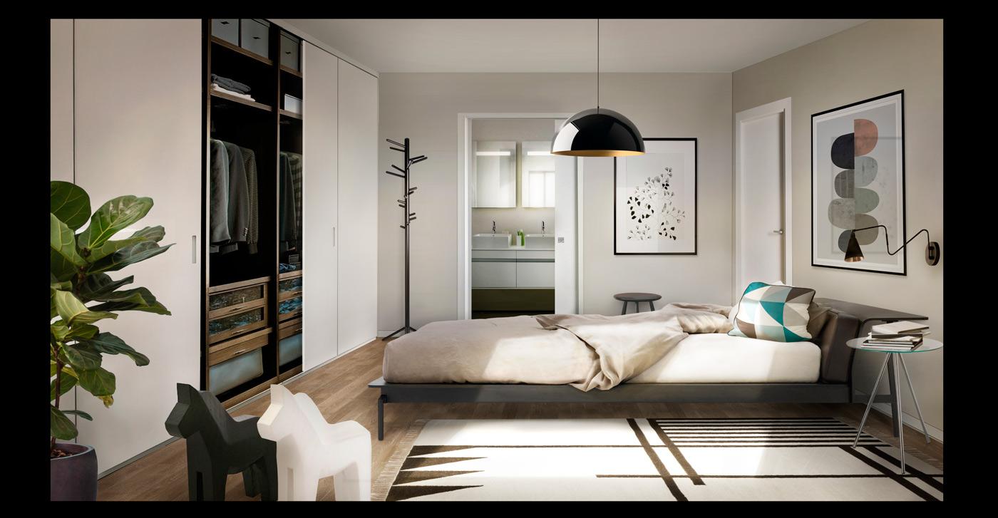 dormitorio 3d, diseño de residencial, promoción inmobiliaria, diseño gráfico Almeria, interiores y exteriores 3d, renders, matte painting, manual de identidad corporativa